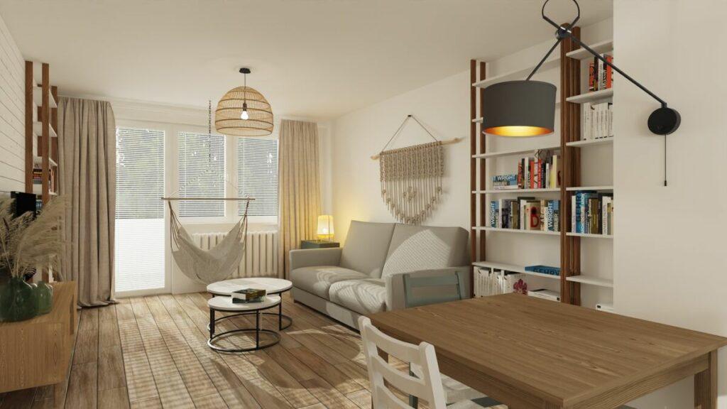 Jak urządzić mieszkanie 50 m salon w stylu boho-Warszawa