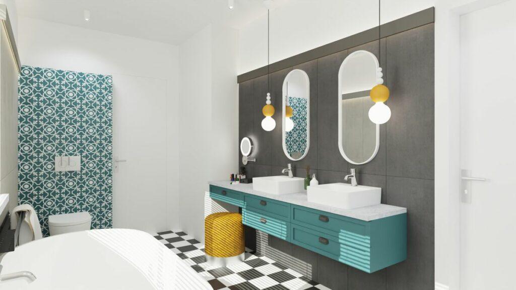 Kolorowa łazienka w stylu boho- Warszawa