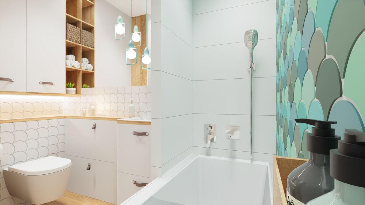 Łazienka w bloku z prysznicem i pralką bateria i prysznic- Warszawa