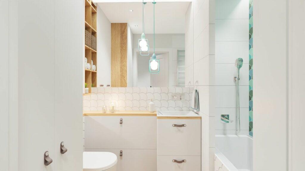 Łazienka w bloku z prysznicem i pralką lustro- Warszawa