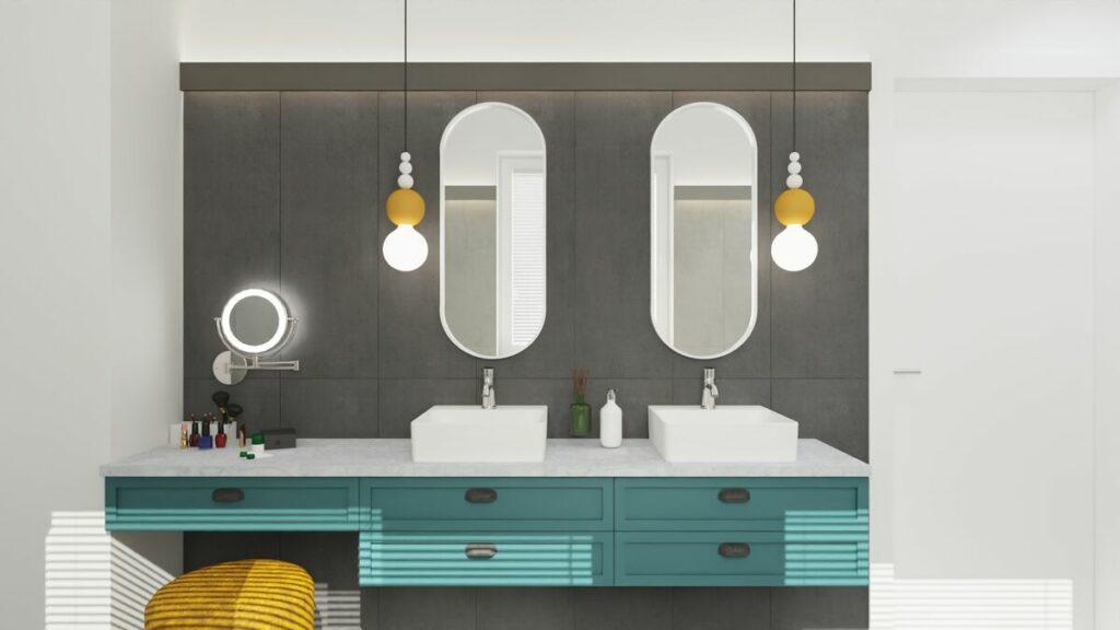Kolorowe łazienki w stylu boho- Warszawa