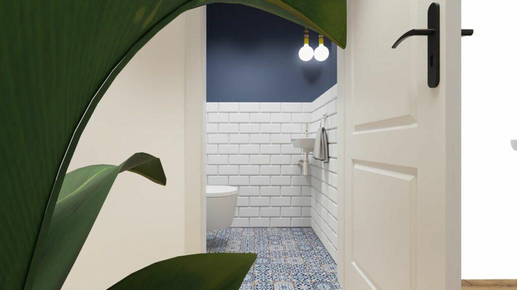 Małe wc w bloku z niebieską podłogą- Warszawa