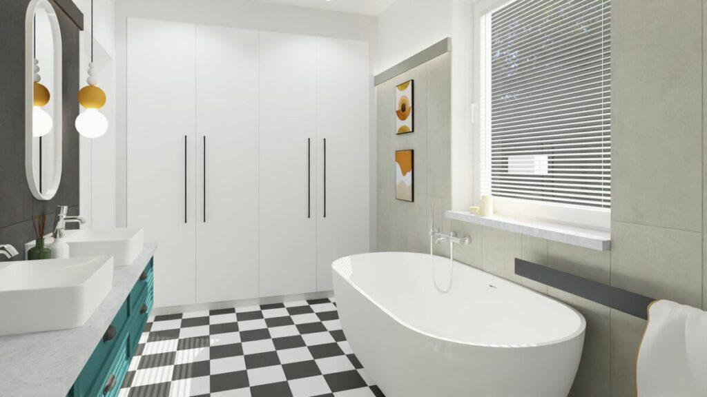 Pomysł na łazienkę z wanną w stylu boho- Warszawa