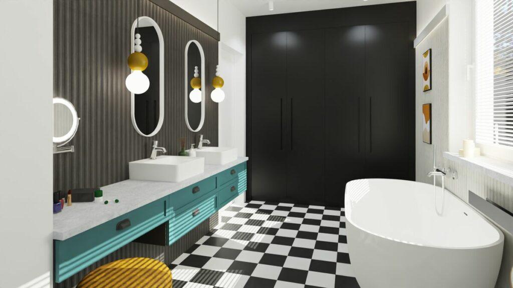 Kolorowy pomysł na łazienkę z wanną- Warszawa