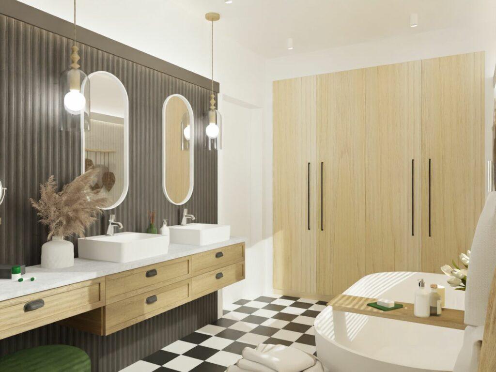 Pomysł na łazienkę z wanną i oświetlenie- Warszawa