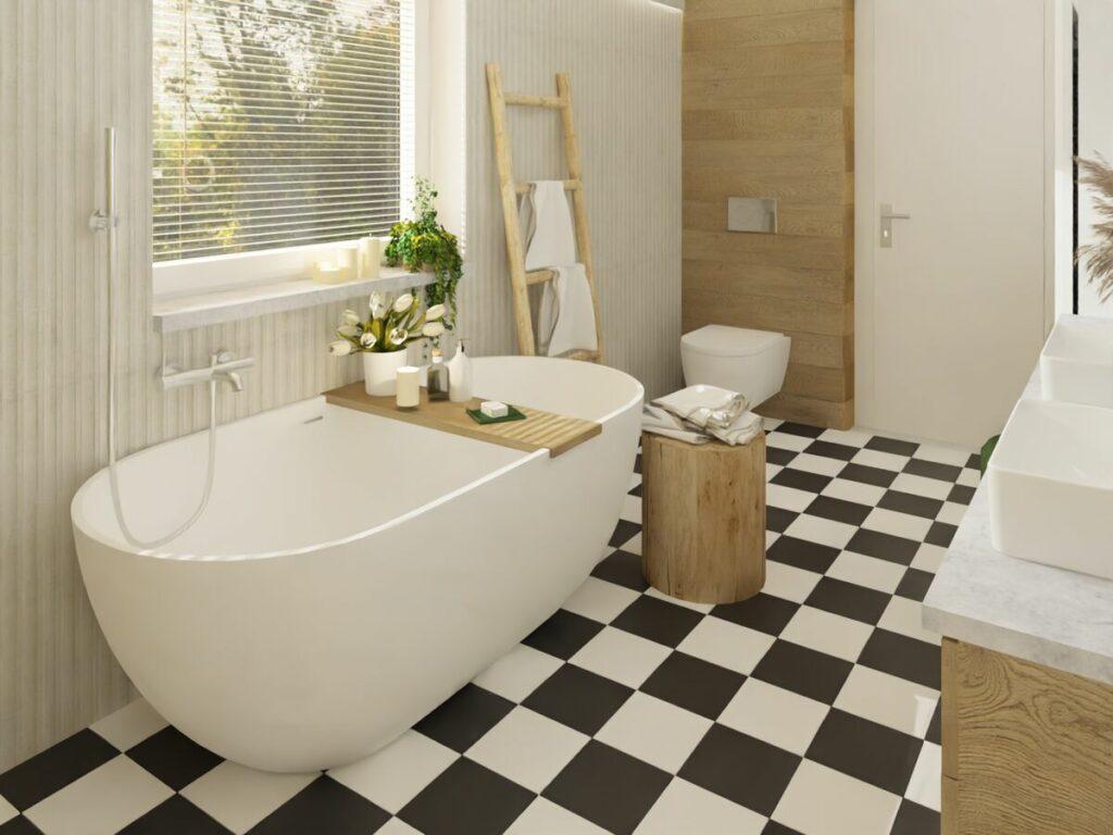 Ciekawe podłoga w szachownicę w łazience boho- Warszawa