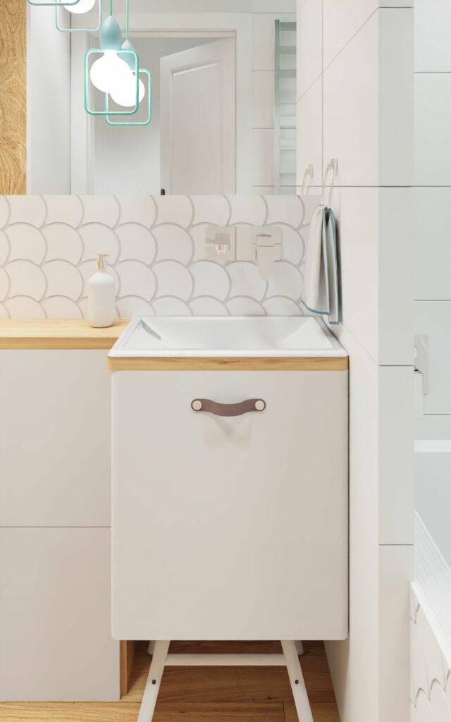 Projekt łazienki w bloku mała umywalka- Warszawa