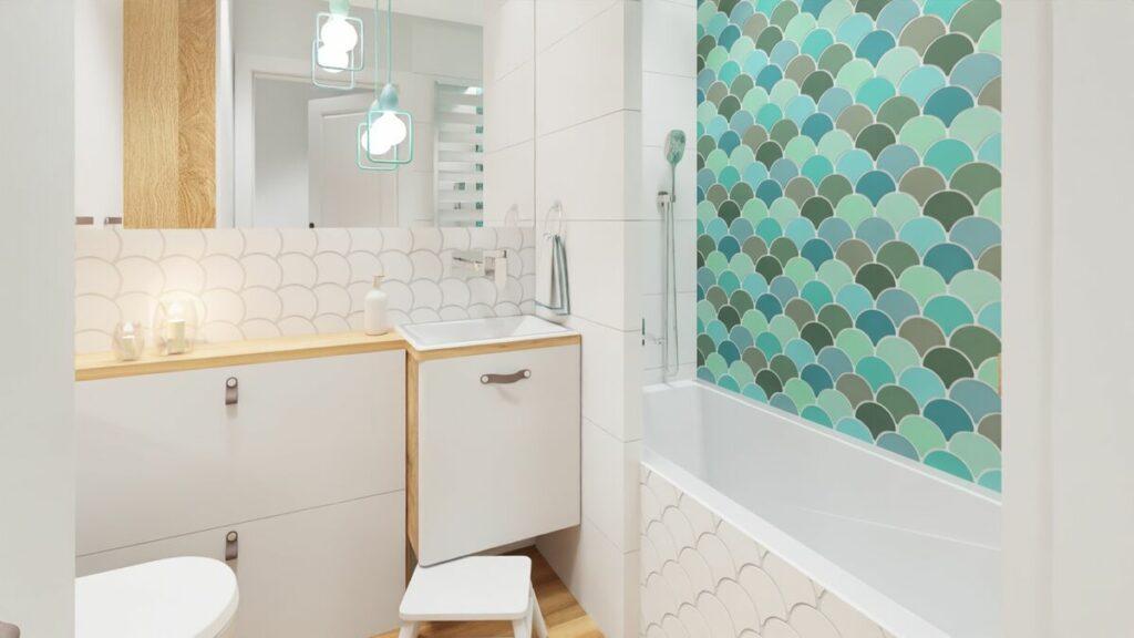 Projekt łazienki w bloku meble łazienkowe- Warszawa