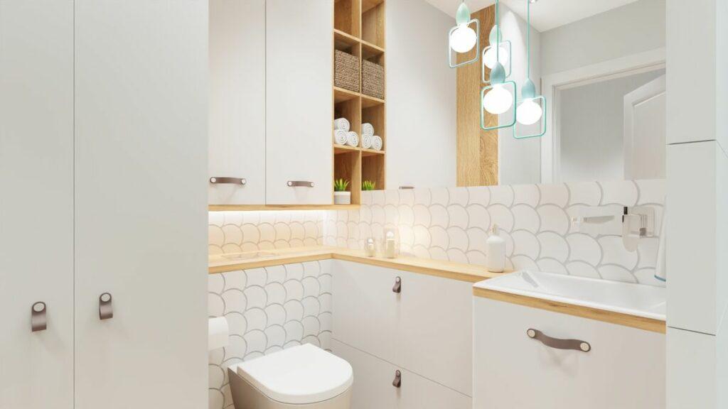 Projekt łazienki w bloku szafki meble- Warszawa