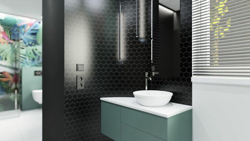 Projekt małej łazienki z prysznicem- umywalka