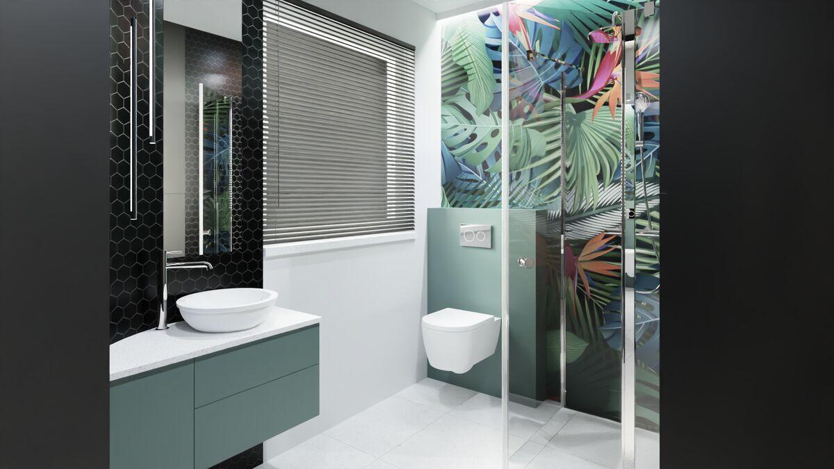 Projekt małej łazienki z prysznicem